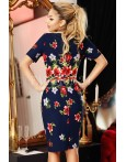 Rochie Lidia bleumarin in stil traditional