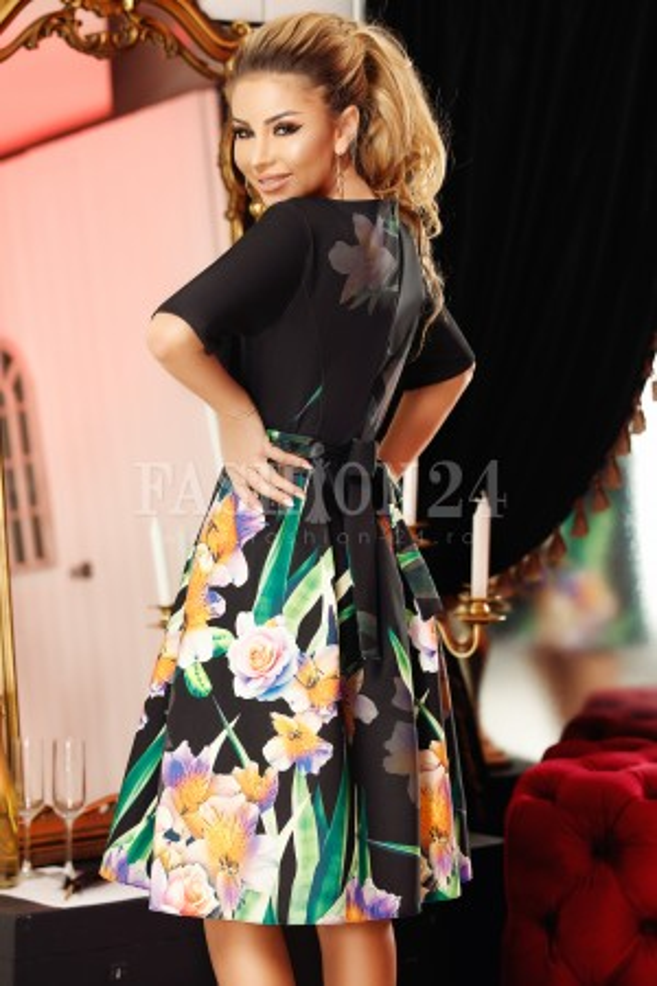 Rochie eleganta neagra cu imprimeuri florale