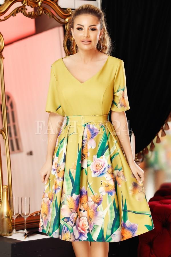Rochie eleganta mustar cu imprimeuri
