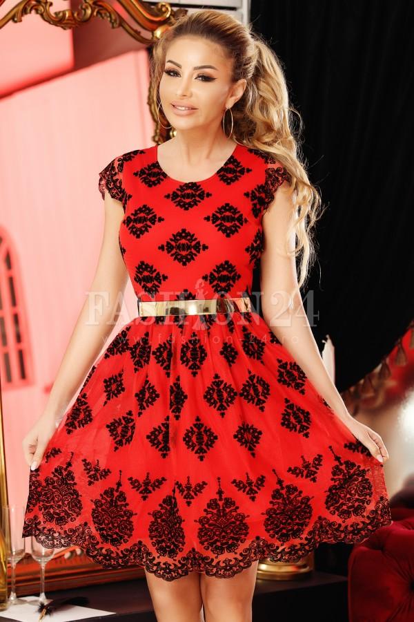 Rochie Luisa rosu cu negru in clos