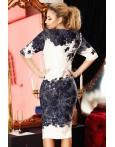 Rochie Glami alb bleumarin cu model deosebit
