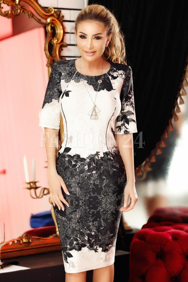 Rochie Glami alb negru cu model deosebit