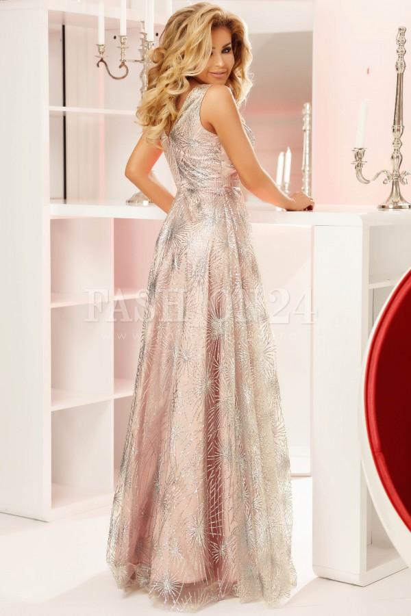 Rochie lunga Amelie roz
