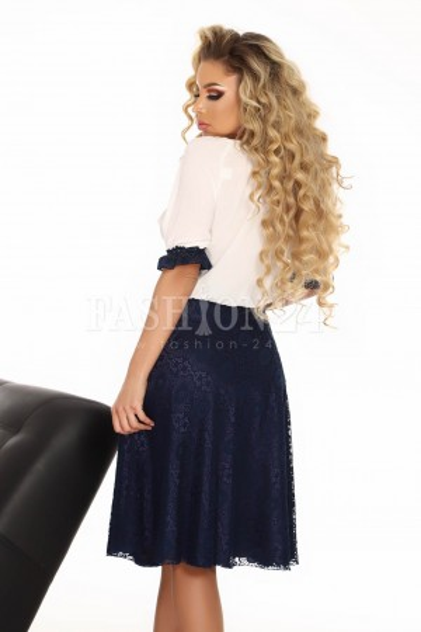 Rochie traditionala bleumarin cu alb