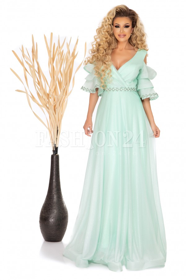 Rochie lunga Miria azure cu manecile evazate