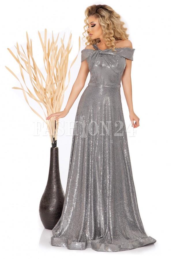 Rochie lunga Julieta argintie lucioasa