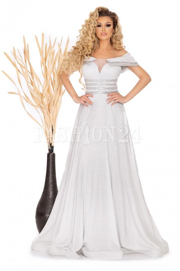 Rochie lunga gri eleganta lucioasa