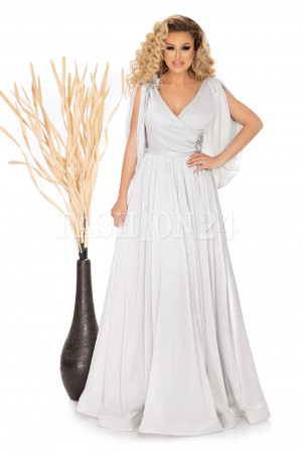 Rochie de seara lunga argintie