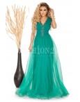 Rochie Larisa verde lunga cu tull si decolteu in V