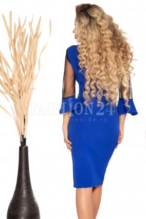 Rochie Emmy albastra cu manecile in clopot