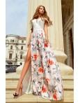 Rochie lunga cu imprimeuri florale deosebite