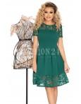 Rochie verde in clos cu manecile scurte