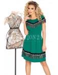 Rochie verde in clos cu franjuri