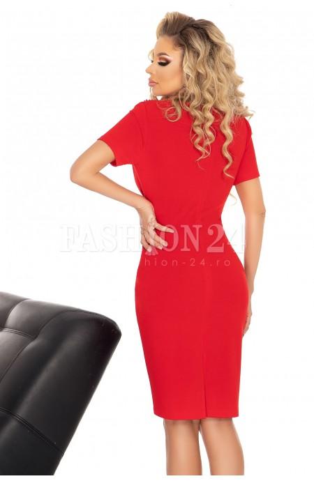 Rochie eleganta in nuante de rosu cu broderie