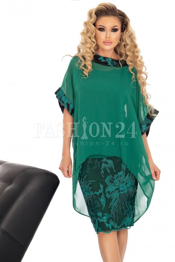 Rochie de seara verde cu voal si broderie