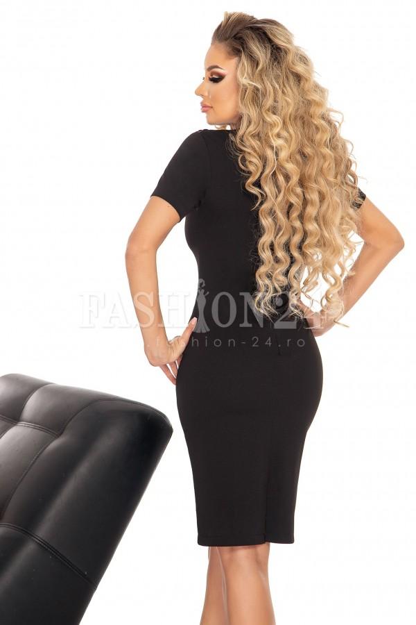 Rochie eleganta in nuante de negru cu broderie