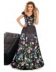 Rochie lunga neagra cu imprimeuri cu flori