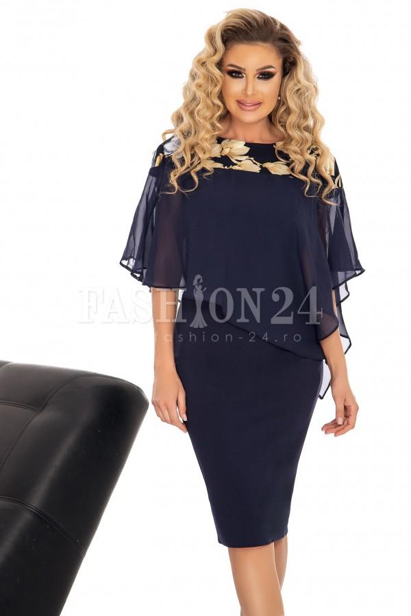 Rochie Maya bleumarin cu voal elegant