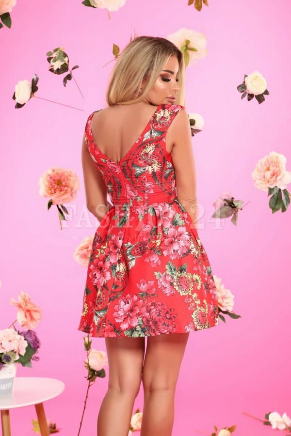 Rochie florala in nuante de rosu
