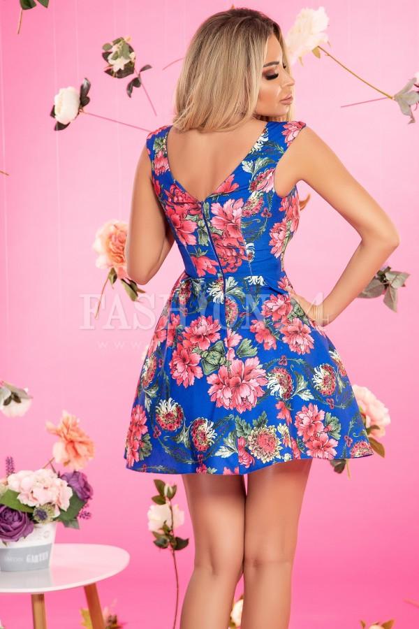 Rochie florala in nuante de albastru