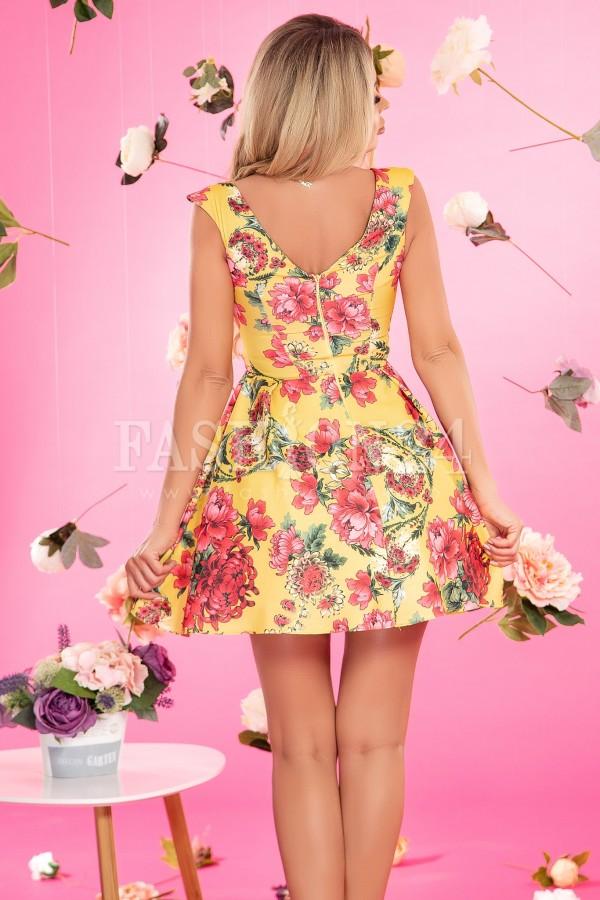 Rochie florala in nuante de mustar