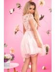 Rochie cu broderie florala roze