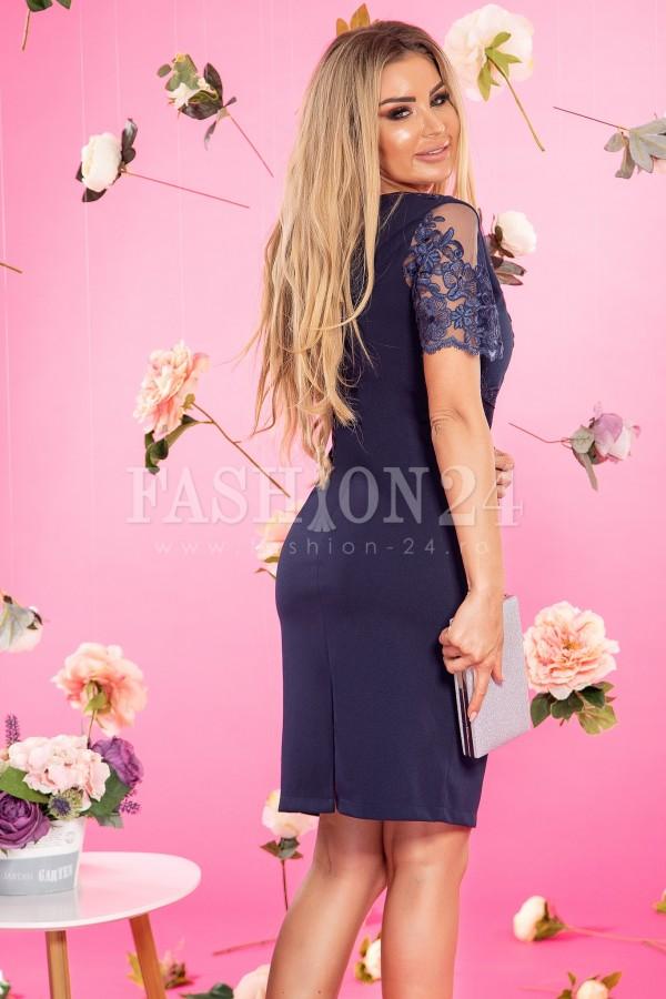 Rochie Sorana bleumarin cu dantela