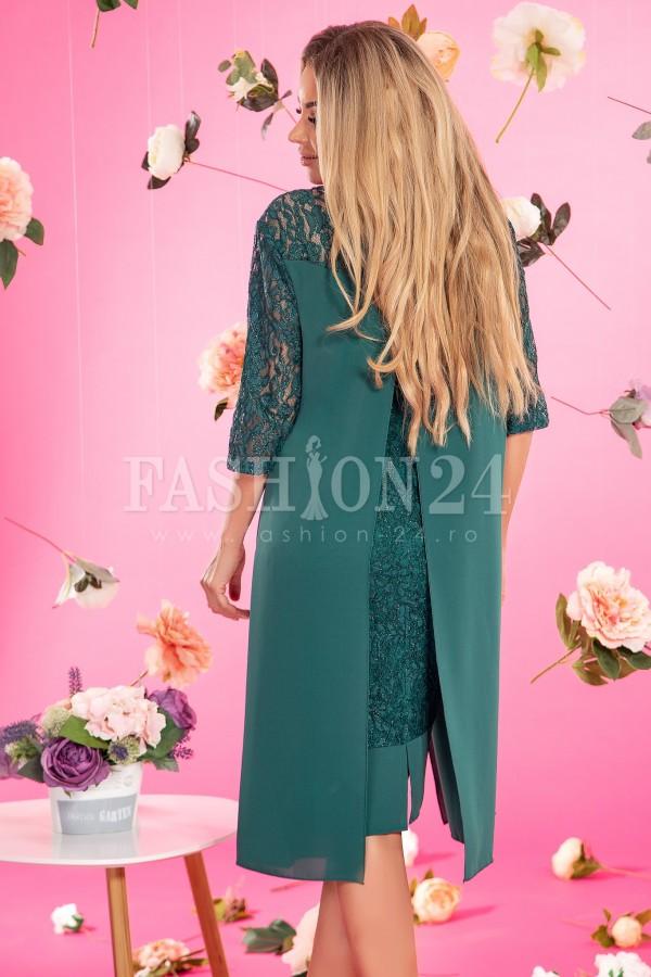 Rochie de seara verde cu accesoriu