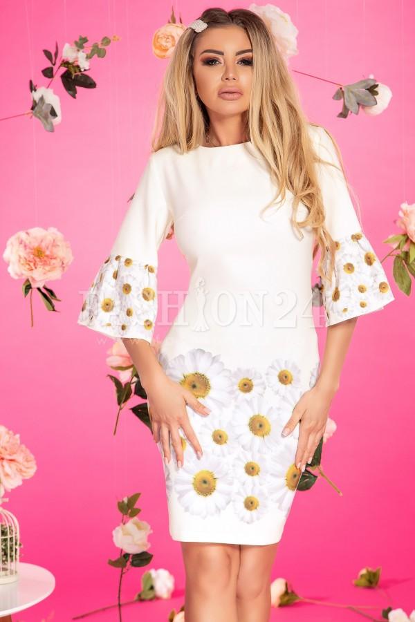 Rochie cu imprimeuri florale margarete