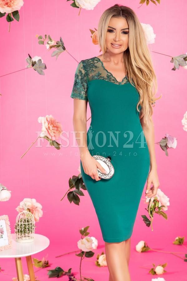 Rochie elegantacu dantela in nuante de verde