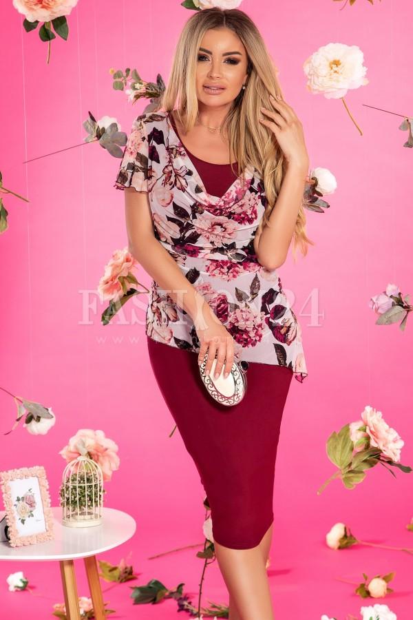 Rochie bordo lejera cu imprimeuri florale