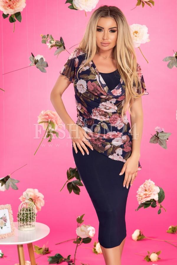 Rochie bleumarin lejera cu imprimeuri florale
