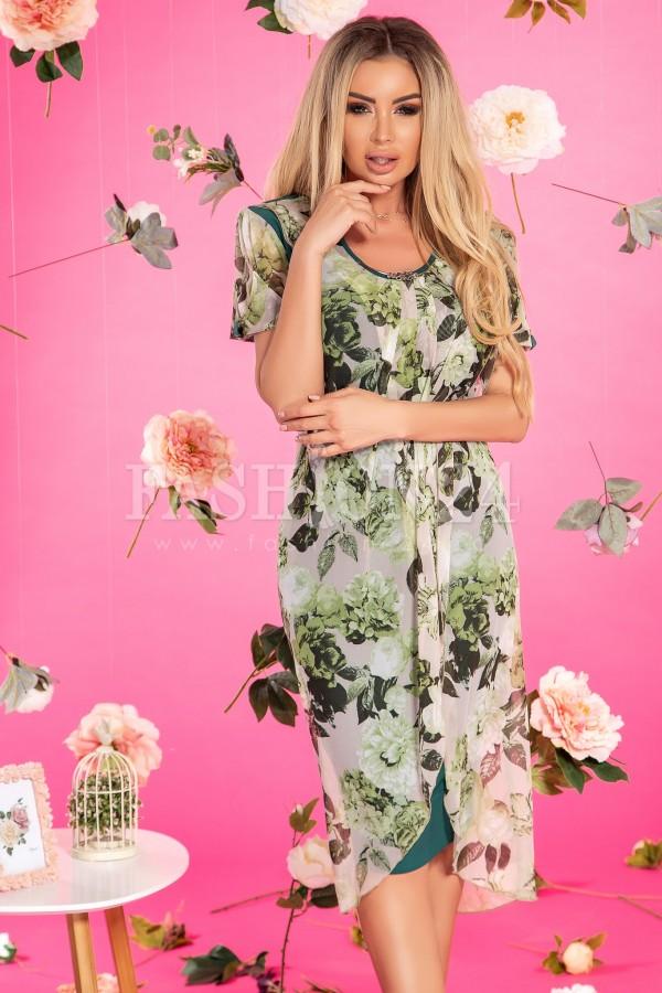 Rochie verde eleganta cu imprimeuri florale