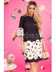 Rochie neagra cu imprimeuri florale margarete