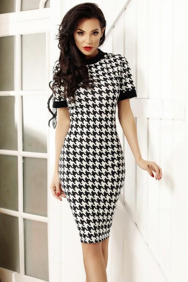 Rochie eleganta in doua culori alb si negru