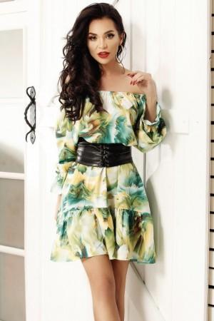 Rochie verde in clos cu imprimeuri de vara