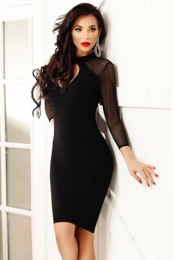 Rochie de seara neagra mulata pe corp eleganta