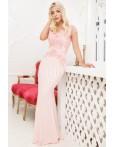 Rochie lunga roz cu broderie din dantela