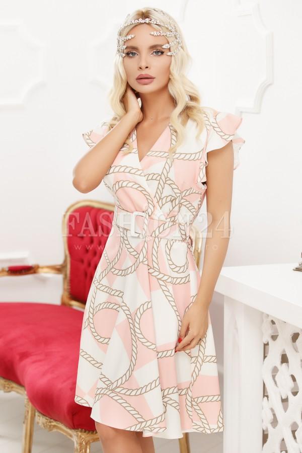 Rochie eleganta in nuante de roz si alb