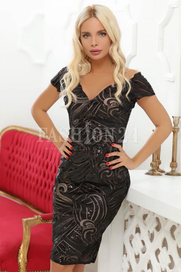 Rochie de seara neagra eleganta cu paiete