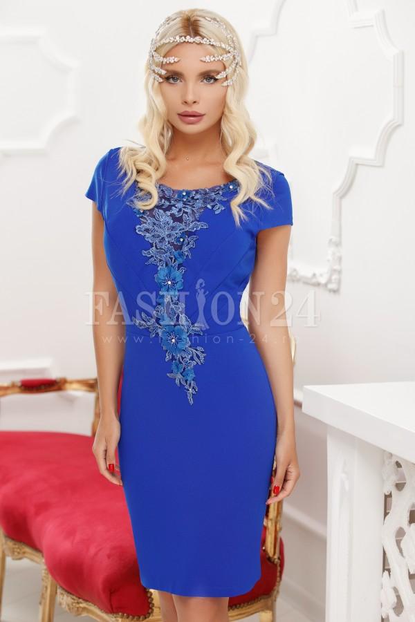 Rochie de seara cu broderie blorala in nuante de albastru