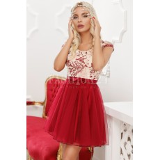 Rochie baby doll in nuante de bordo thumbnail
