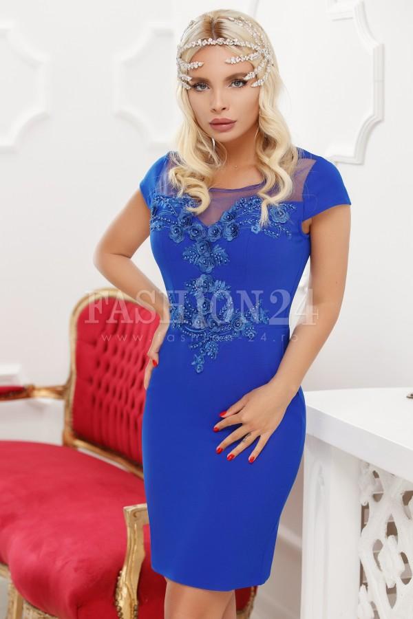 Rochie de seara albastra cu broderie florala
