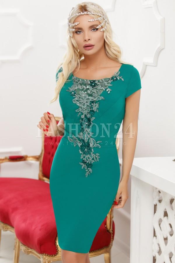 Rochie de seara cu broderie florala in nuante de verde