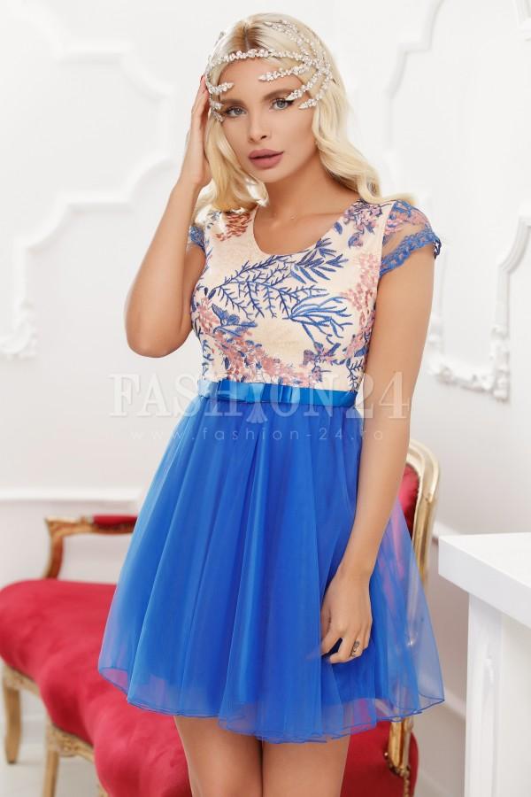 Rochie baby doll in nuante de albastra