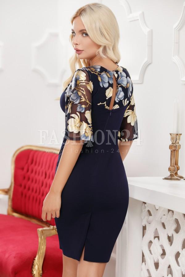 Rochie de seara eleganta in nuante de bleumarin cu manecile evazate