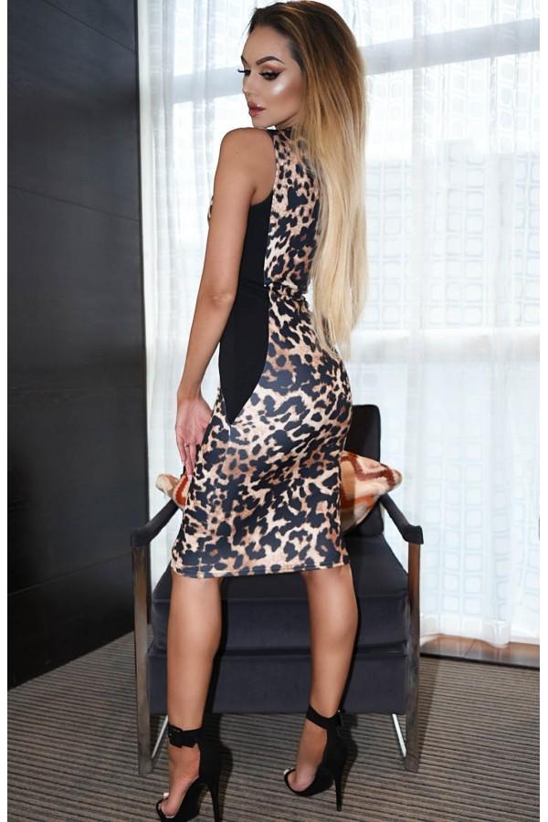 Rochie midi mulata pe corp cu model animal print