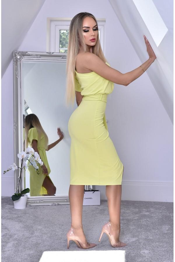 Rochie de seara in nuante de galben cu umarul gol