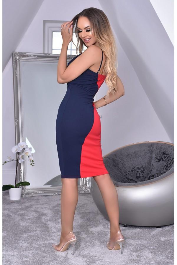 Rochie in doua culori bleumarin si rosu