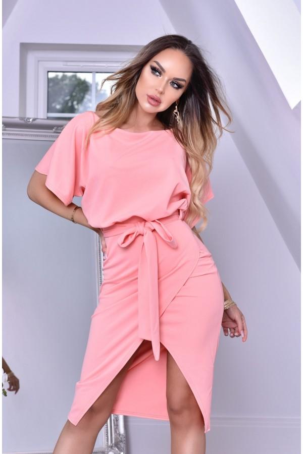 Rochie de seara roz cu cordon in talie